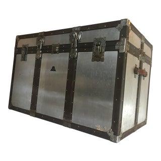 Vintage Rustic Metal Storage Trunk