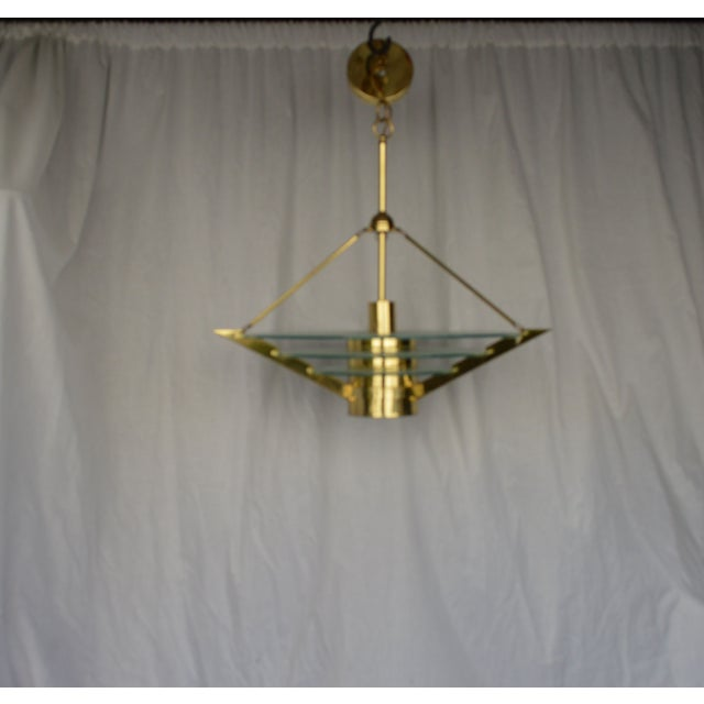 Art Deco Revival Tiered Brass & Glass Chandelier - Image 2 of 5