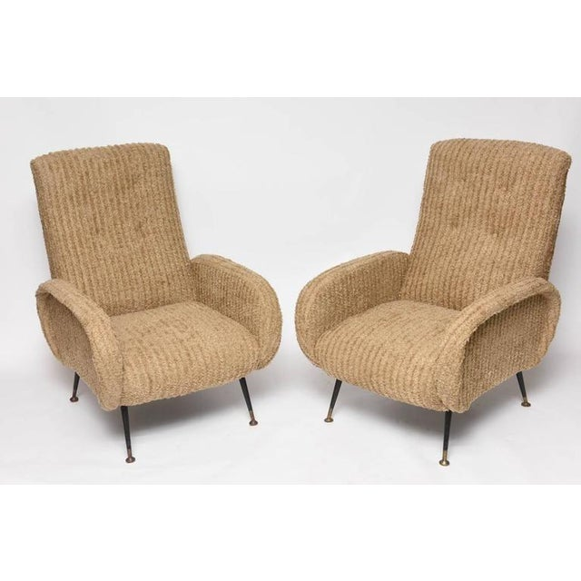 Mid-Century Italian Lounge Chairs with Original Metal and Brass Legs - Image 8 of 10
