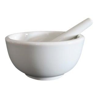 Vintage White Porcelain Stoneware Pestle and Mortar Bowl