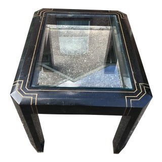 Maitland Smith Side Table with Tessellated Brass Inlay