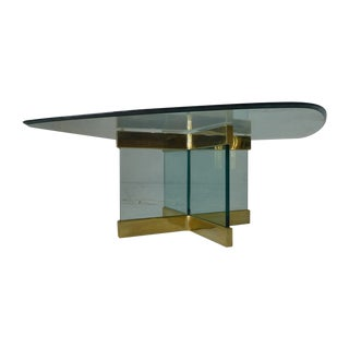 Pace Collection Brass Glass Coffee Table