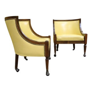 Mid Century French Provincial Yellow Vinyl Club Chairs - A Pair