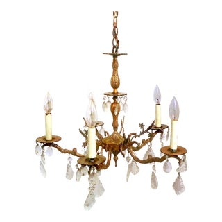 Antique Spanish 5-Arm Brass & Crystal Chandelier