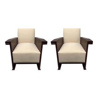 Pair of Mahogany Art Deco Style Club Chairs