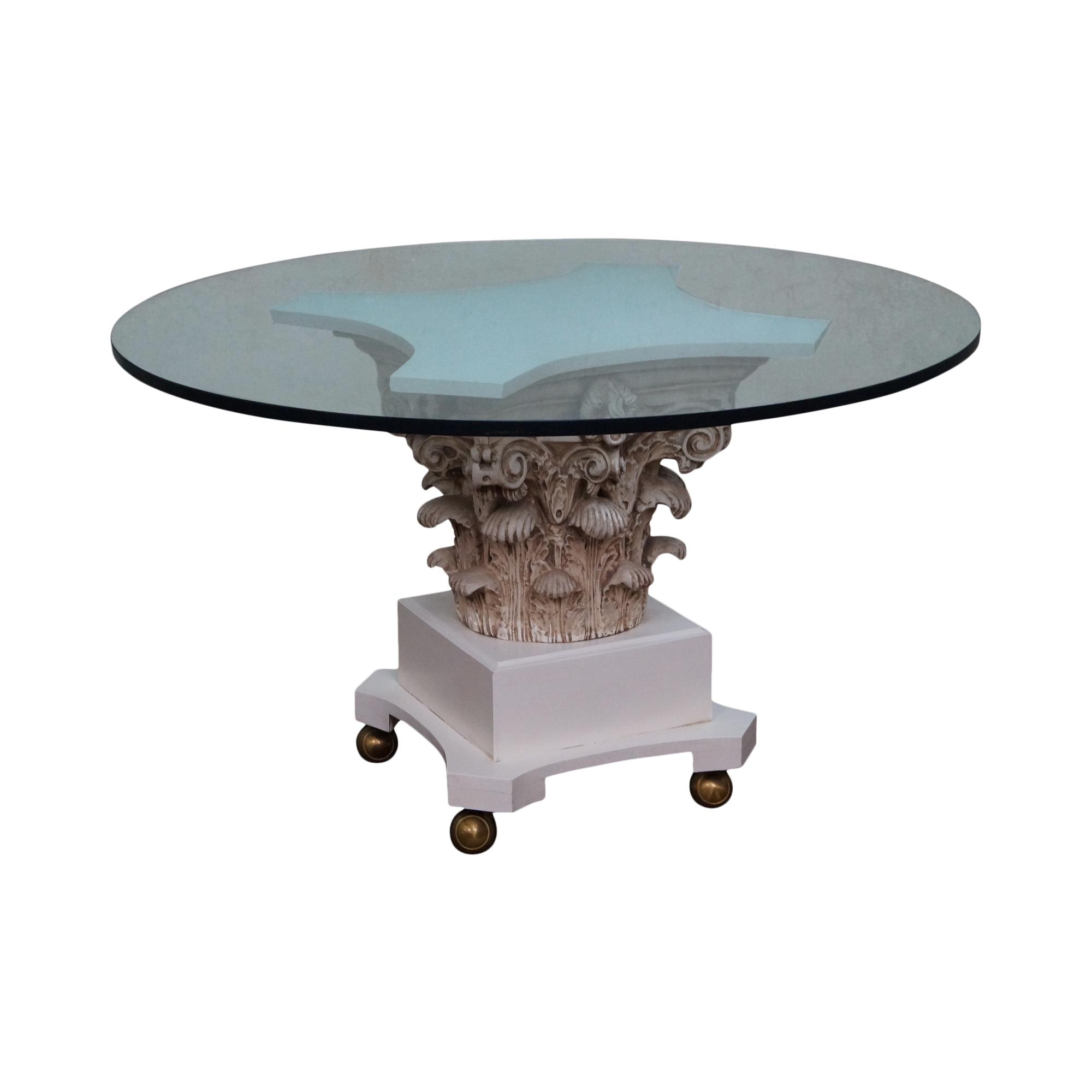 Round Glass Pedestal Dining Table vintage hollywood regency corinthian capital round glass top