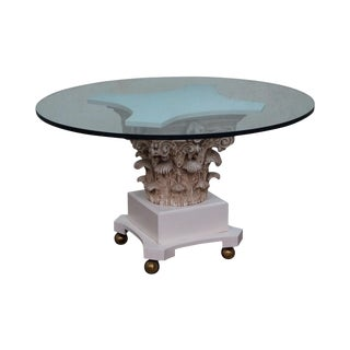 Vintage Hollywood Regency Corinthian Capital Round Glass Top Pedestal Dining Table