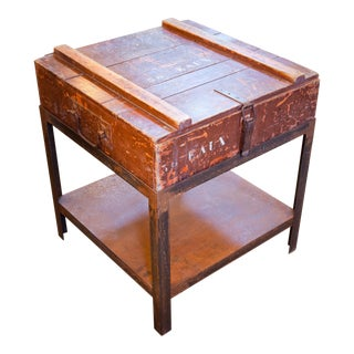 Antique Campaign Chest as Side Table on Iron Stand circa 1900