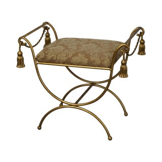 Italian Gilt Metal Rope & Tassel Cerule Bench