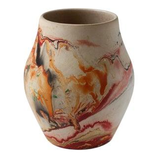 Vintage Red & Orange Nemadji Pottery Vase