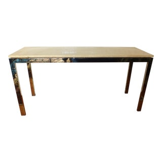 Mid-Century Modern Marble & Chrome Console Table