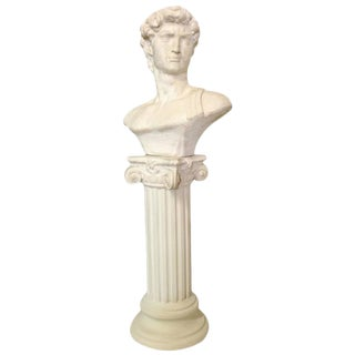 Vintage Concrete Male Roman Bust Sculpture On Pedestal