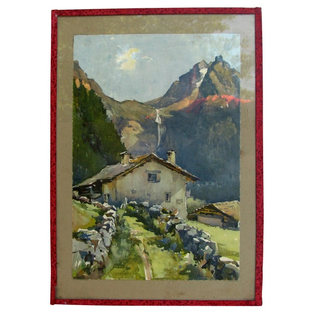 Image of Serene French Alpine Watercolor