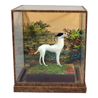 Vintage Glass Shadow Box With Lauscha Glass Dog
