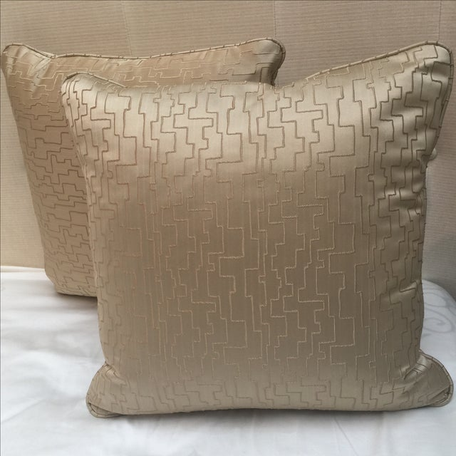 Modern Geometric Satin Pillows- A Pair - Image 3 of 6