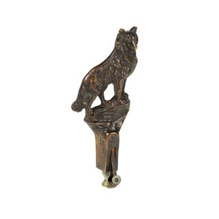 19th Century Bronze Wolf Figure Cigar Cutter