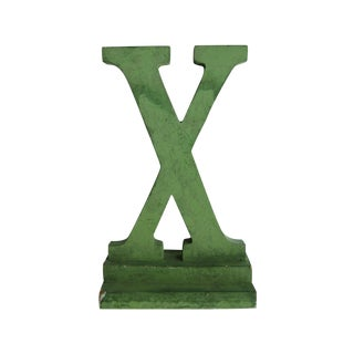 Vintage Green Painted Wood Letter X