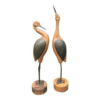 Vintage Large Wood Brass Cranes on Pedestals - a Pair