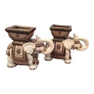 Vintage Terra Cotta Elephant Garden Pots, Planters Stands - a Pair