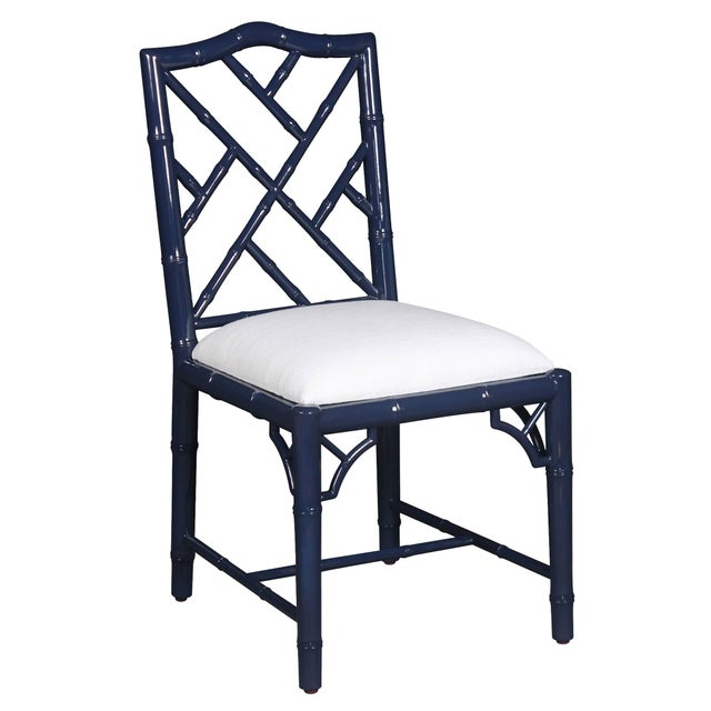 Selamat Designs Chippendale Style Navy Lacquer Side Chair - Image 1 of 2