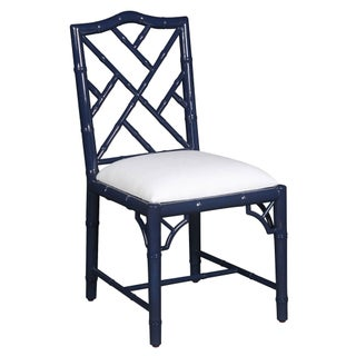 Selamat Designs Chippendale Style Navy Lacquer Side Chair