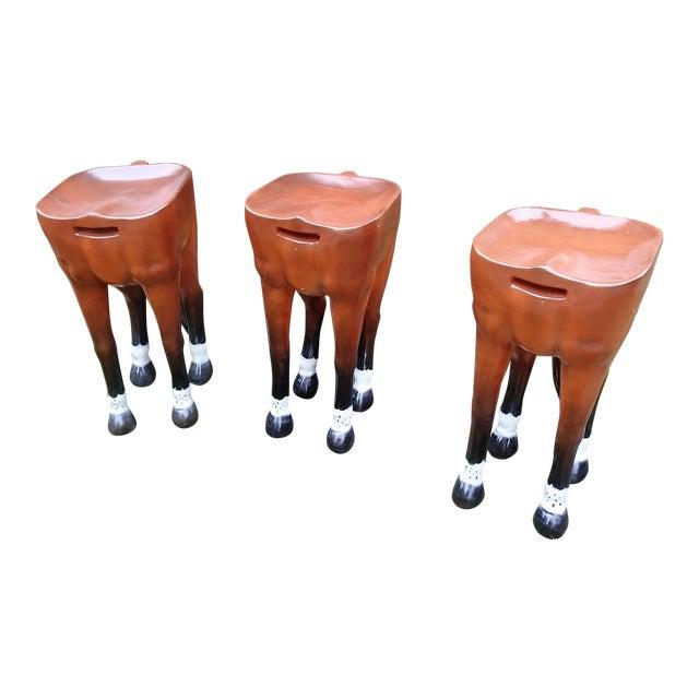 Image of Horse-Shaped Bar Stools - Set of 3