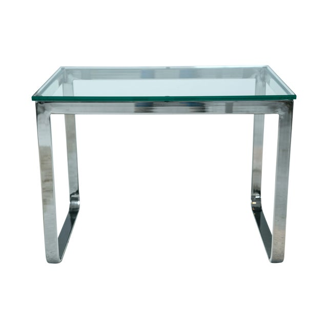 Chrome And Glass Accent Table - Image 1 of 4