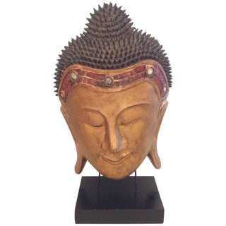 Large Dramatic Carved Wood Buddha Head