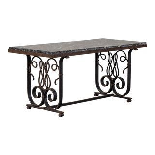 Vintage French Art Nouveau Iron and Marble Coffee Table circa 1920