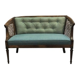 Mid-Century Caned Settee Love Seat