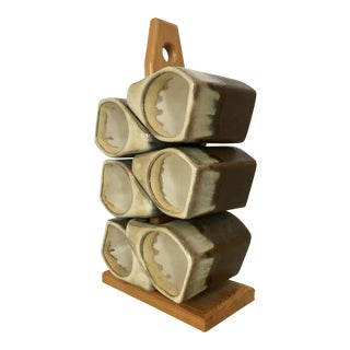 Vintage Stoneware Mugs With Wood Stand - Set of 6