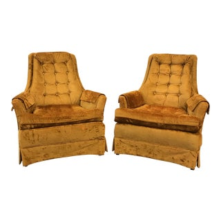 Gold Mid-Century Club Chairs - A Pair