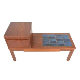 Danish Modern Teak & Tile Telephone Bench