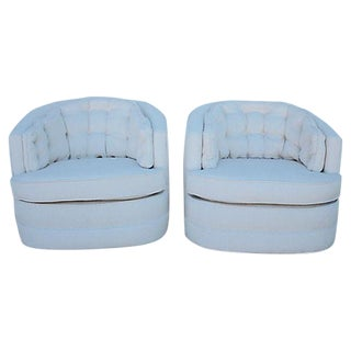 Milo Baughman Style Swivel Chairs - A Pair