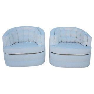 Milo Baughman Style Swivel Chairs - A Pair
