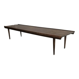 Mid-Century Slat Wood Bench