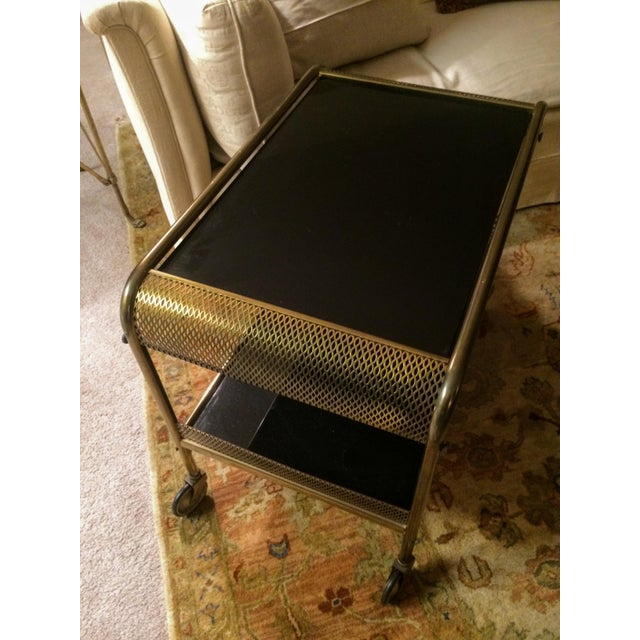 Mid-Century Brass & Black Glass Bar Cart - Image 8 of 11