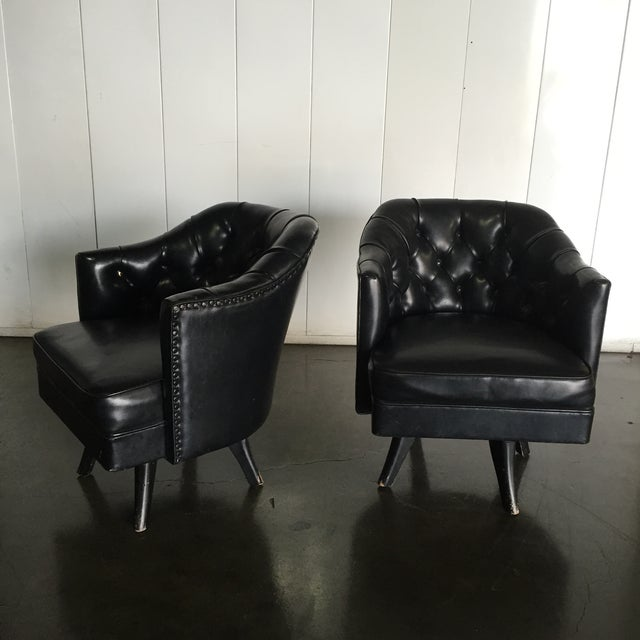 Monteverdi Style Mid-Century Tufted Chesterfield Swivel Chairs- A Pair - Image 7 of 7