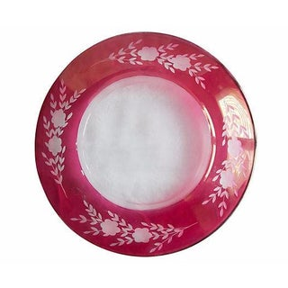 Antique Bohemian Cranberry Etched Crystal Holiday Serving Plate