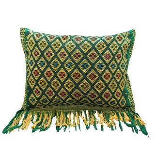 Green Boho Chic Hand-Loomed Sumba Ikat Pillow