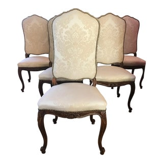 French Traditional Damask Upholstered Dining Chairs - Set of 6