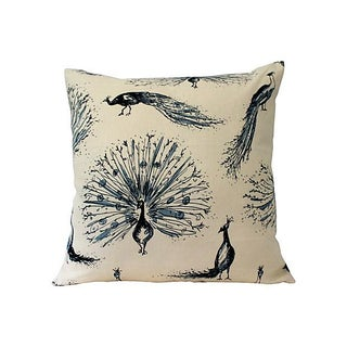 Hand Printed Linen & Silk Custom Peacock Pillow Cover