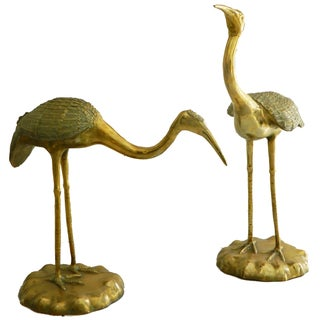 Vintage French Bronze Cranes - A Pair