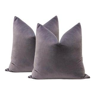 "20"" Smokey Amethyst Velvet Pillows - a Pair"