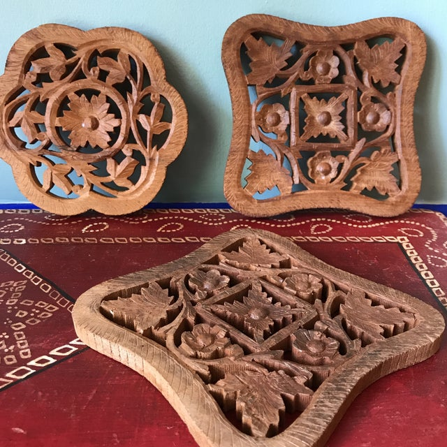 Hand-Carved Trivets - Set of 3 - Image 8 of 10