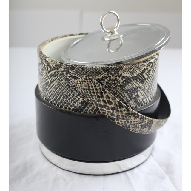 Faux Python Black & Chrome Ice Bucket - Image 2 of 8