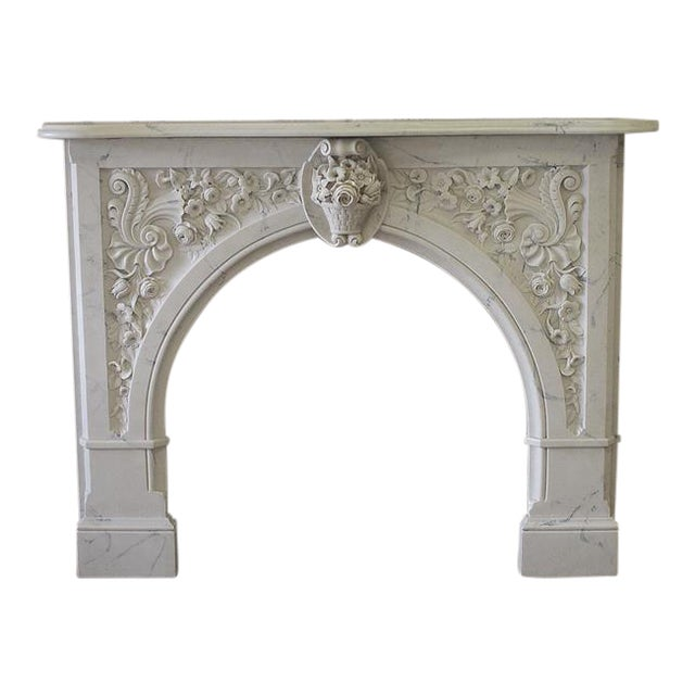 20th Century Louis XV Style Cultured Marble Fireplace Mantle - Image 1 of 6