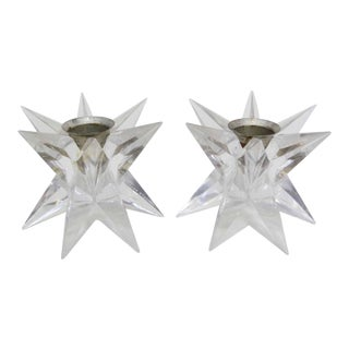 Lucite Starburst Candle Holders - Pair