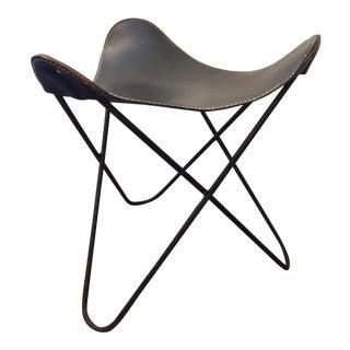 Jorge Ferrari Hardoy Knoll Mid-Century Leather Butterfly Stool or Footrest