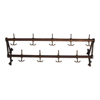 Antique Oak and Brass Wall Coat Rack